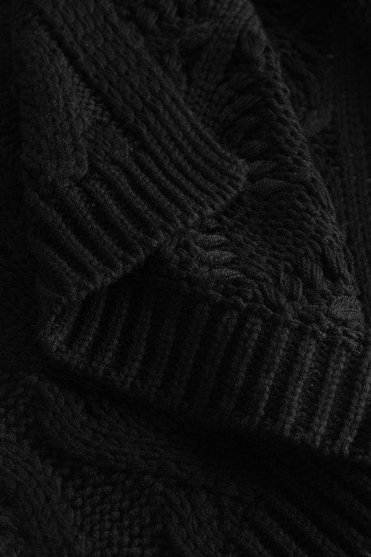 Luźny kardigan ze splotem -  LS297 - czarny-12