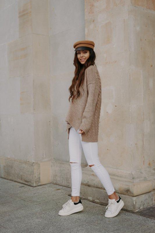 Sweter z guzikami i dłuższym tyłem - LS307-capucino -7