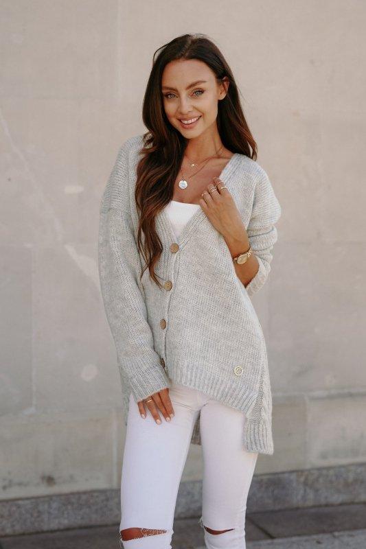 Sweter z guzikami i dłuższym tyłem - LS307- jasnoszary -7