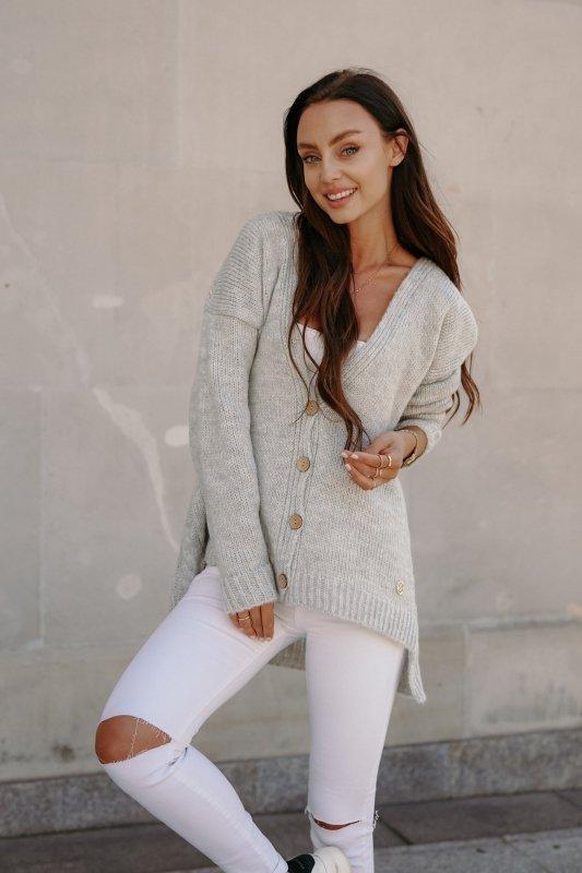 Sweter z guzikami i dłuższym tyłem - LS307- jasnoszary -9