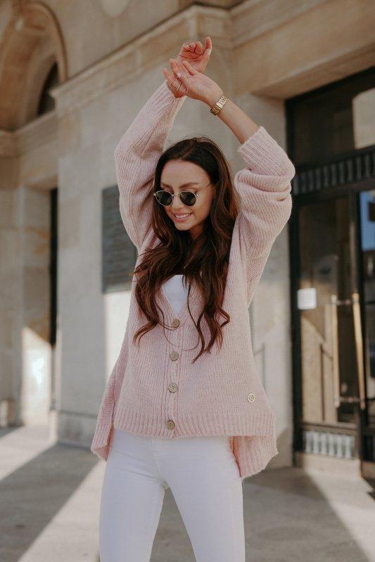 Sweter z guzikami i dłuższym tyłem - LS307- pudrowy róż -1