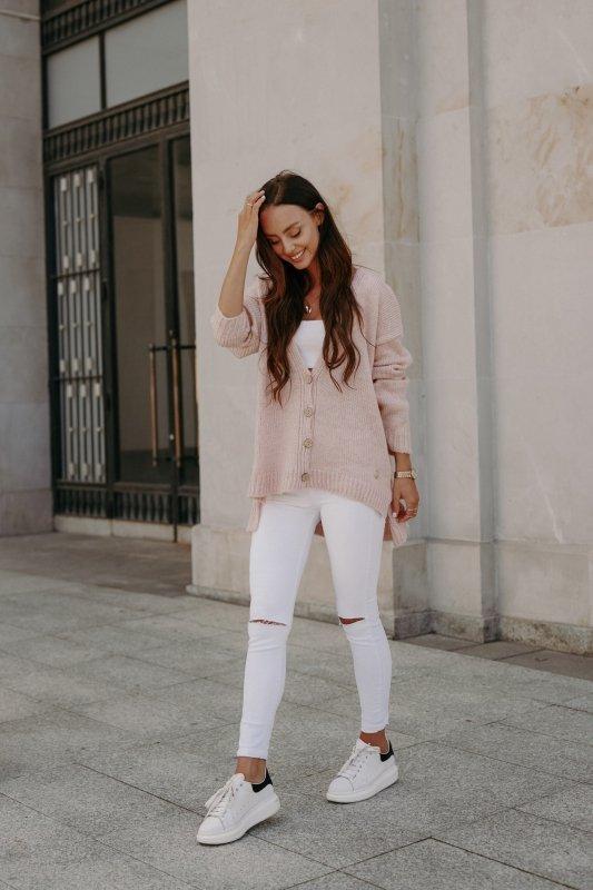 Sweter z guzikami i dłuższym tyłem - LS307- pudrowy róż -2