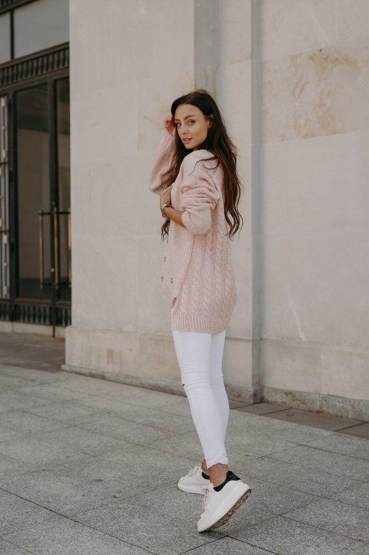 Sweter z guzikami i dłuższym tyłem - LS307- pudrowy róż -4