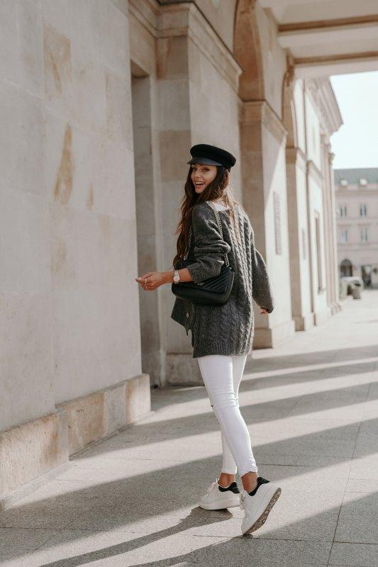 Sweter z guzikami i dłuższym tyłem - LS307-grafit -4