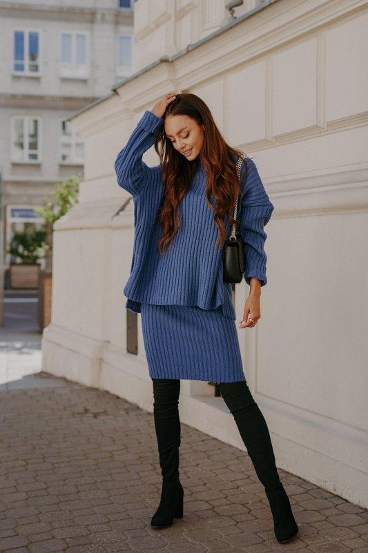 Komplet swetrowy – spódnica i sweter z golfem - jeans - 2