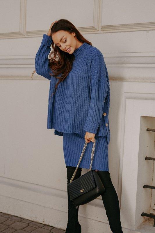 Komplet swetrowy – spódnica i sweter z golfem - jeans - 5