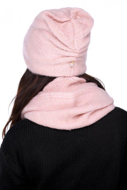 Basicowy komplet czapka z perełką i komin LC141 - pudrowy róż - 1