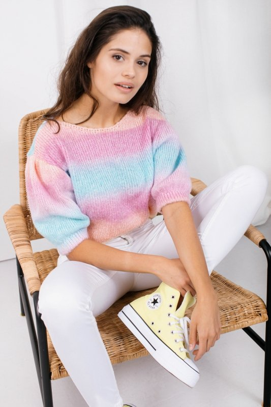 Pastelowy Sweter Tęcza - LS336 - 3