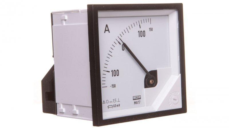 Amperomierz analogowy 72x72 N IP50 BB17 +/-150A/+-60mV pozycja pracy C3 K=90 st. bez atestu KJ MA17N BB1700000000