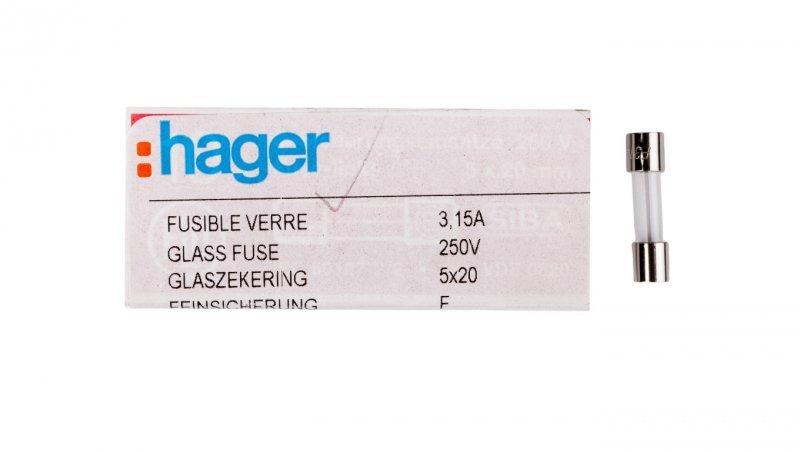 HAGER Wkładka aparatowa 5x20mm 3,15A szybka (F) L520FK03-150 /10szt./