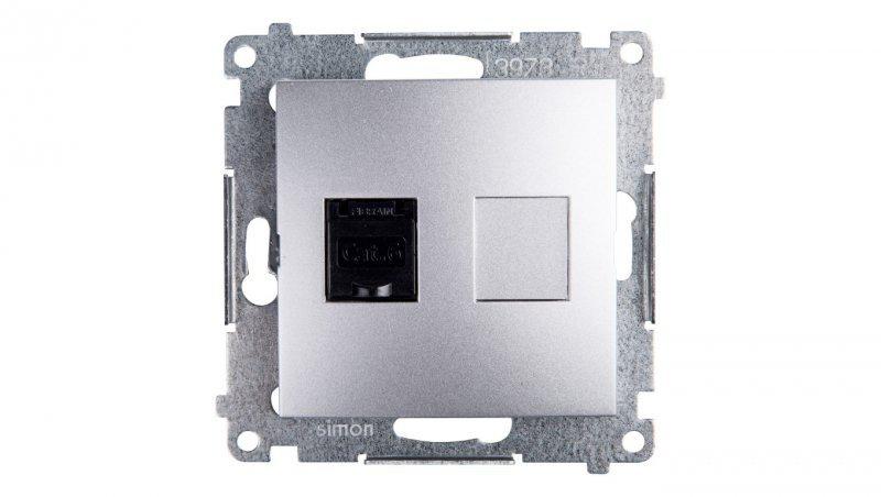 Simon 54 Gniazdo komputerowe pojedyncze RJ45 kat.6 z przesłoną srebrny mat D61.01/43