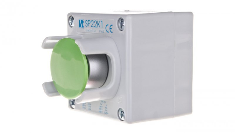 Kaseta sterownicza 1-otworowa przycisk grzybkowy z osłoną zielony 1Z szara IP65 SP22K126-1