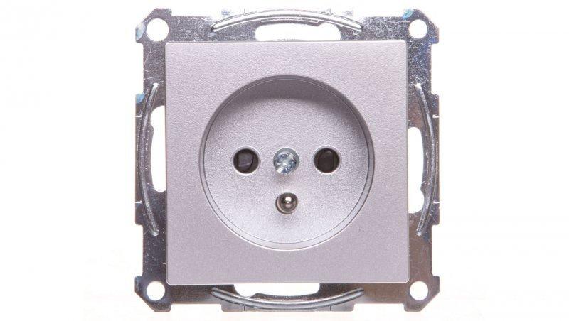 Merten System M Gniazdo pojedyncze z/u 16A IP20 z przesłonami aluminium MTN2500-0460