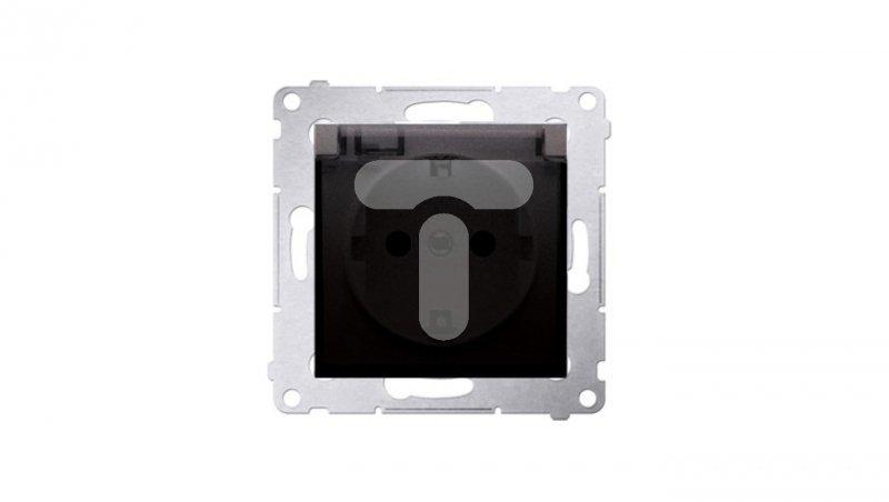 Simon 54 Gniazdo Schuko do wersji IP44 z przesłonami z uszczelką klapka transparentna antracyt DGSZ1BZ.01/48A