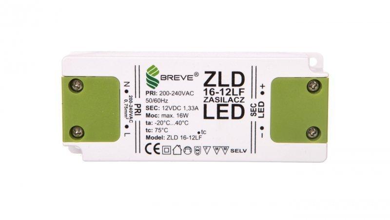Zasilacz LED 12V DC 16W ZLD16-12LF1,3A 19712-9025