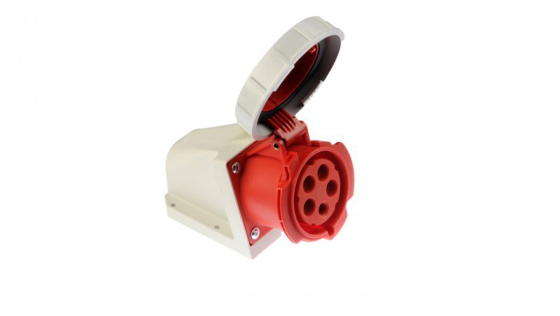 Gniazdo stałe 32A 5P 400V czerwone IP67 /bez dławnicy/ 1252-6