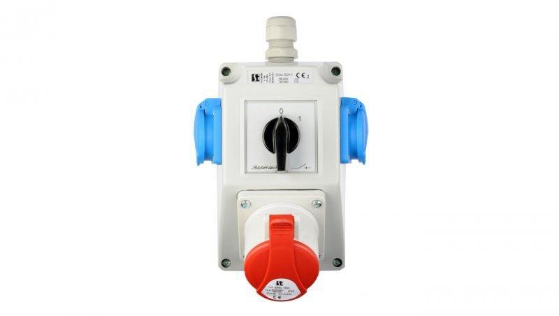 Zestaw instalacyjny z gniazdem 16A 5P+2x2P+Z (0-1) czerwony ZI04R211