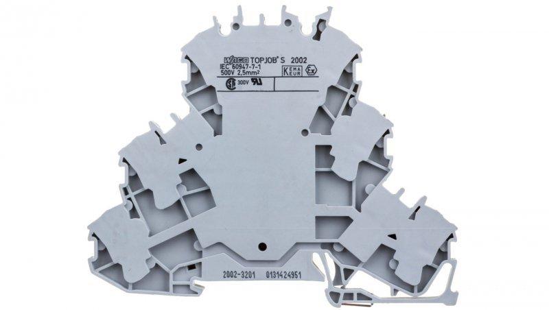 Złączka szynowa 3-piętrowa 2,5mm2 L/L/L szara 2002-3201 TOPJOBS