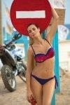 Kostium kąpielowy Daisy Galassia M-300 granatowo-czerwony z graffiti (175)