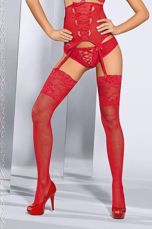 Pończochy Kabaretki Model V-5214 Seduce me Red - Axami