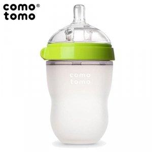 COMOTOMO - antykolkowa butelka silikonowa 250 ml Green BABY