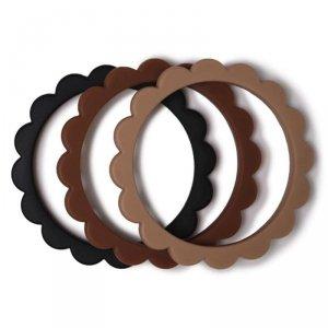3 gryzaki silikonowe bransoletki dla dzieci FLOWER Black/Caramel/Natural - Mushie