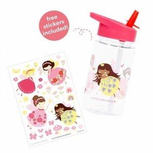 Bidon transparentny dla dziecka ze składanym ustnikiem Wróżki z naklejkami - A Little Lovely Company