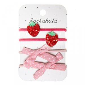 4 gumki do włosów dla dziewczynki Słodka Truskawka i Kokardka - Rockahula Kids