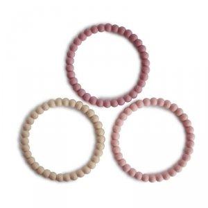 Silikonowe bransoletki gryzaki dla dziecka PERŁA Linen Peony Pale Pink - Mushie - 3szt.