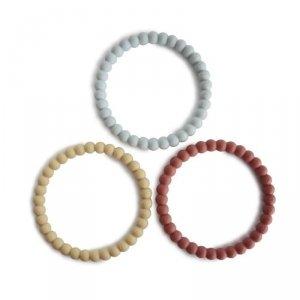Silikonowe bransoletki gryzaki dla dziecka PERŁA Mellow Terracotta Periwinkle - Mushie -3szt.