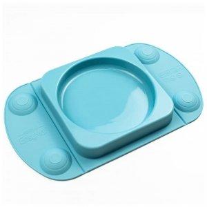 Silikonowy talerzyk z podkładką - lunchbox TEAL EasyTots - EasyMat Mini Max 2in1