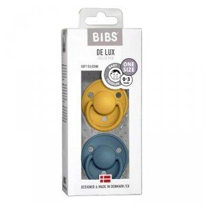 Smoczek uspokajający silikonowy dla dziecka - BIBS DE LUX ONE SIZE 2- PACK MUSTARD & PETROL
