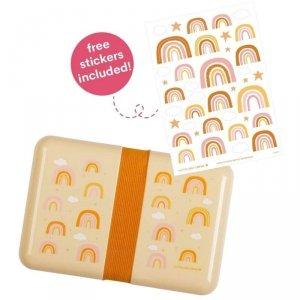 Śniadaniówka Lunchbox dla dziewczynki Tęcza z naklejkami - A Little Lovely Company