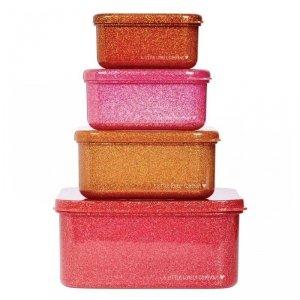 Lśniące Lunchboxy śniadaniówki PINK - A Little Lovely Company - 4 szt.