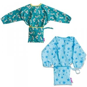 Śliniaki fartuszkowe z przyssawkami dla dziecka BLW Cover & Catch Bib Stars & Zebras - Tidy Tot - 2szt.