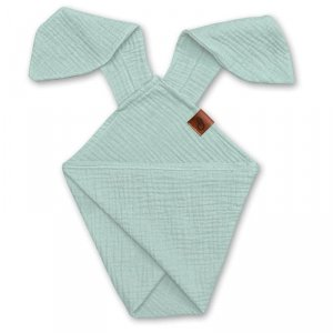 Pieluszka dla niemowląt dou dou z uszami królika z organicznej BIO bawełny GOTS cozy muslin with ears 2in1 Mint - Hi Little One