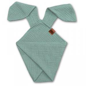 Pieluszka dla niemowląt dou dou z uszami królika z organicznej BIO bawełny GOTS cozy muslin with ears 2in1 Forest Green - Hi Little One