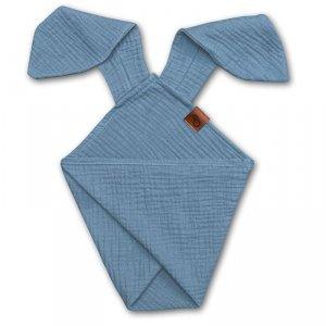 Pieluszka dla niemowląt dou dou z uszami królika z organicznej BIO bawełny GOTS cozy muslin with ears 2in1 Baby blue - Hi Little One