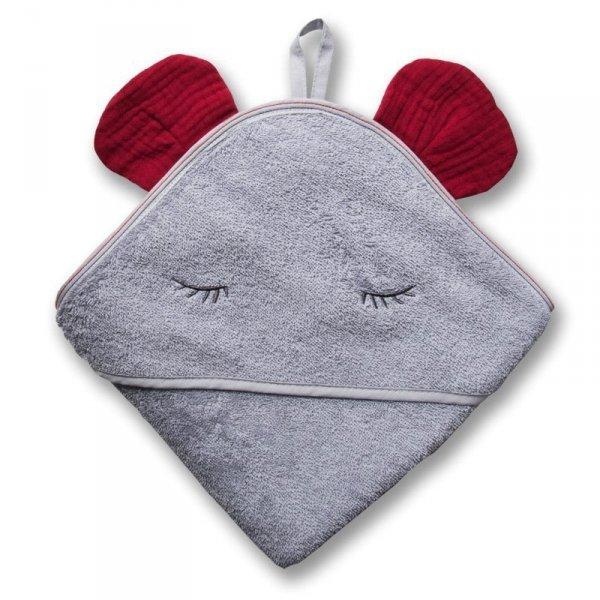 Ręcznik z kapturkiem 100 x 100 - Słonik z uszkami w kolorze truskawkowym