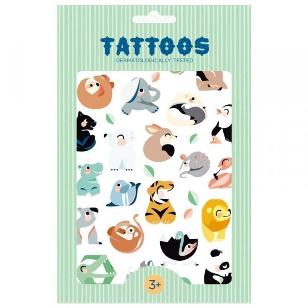 Imprezowy zestaw tatuaży -Petit Monkey - Tattoo Dzikie Zwierzęta