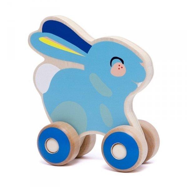 Petit Monkey - Niebieski Króliczek na kółkach