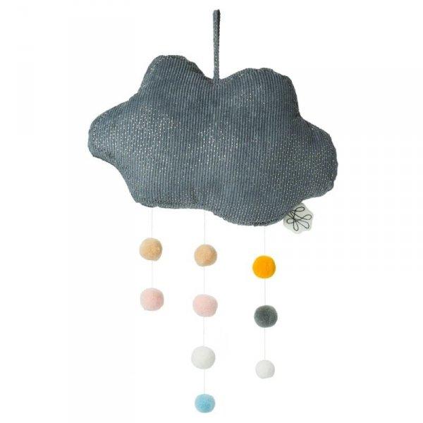 Picca LouLou - Zawieszka mobile Sparkle Cloud GREY with Pompons 34 cm