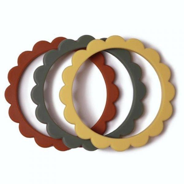 3 gryzaki silikonowe bransoletki dla dzieci FLOWER Clay & Dried Thyme & Sunshine - Mushie