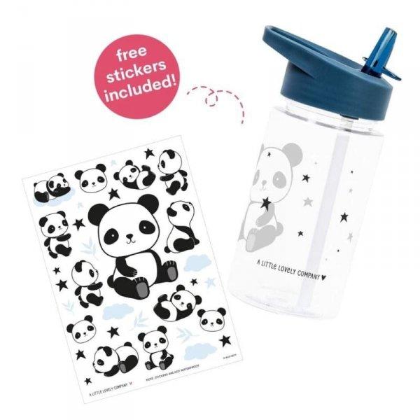 Bidon transparentny dla dziecka ze składanym ustnikiem Panda z naklejkami - A Little Lovely Company