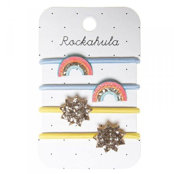 4 gumki do włosów dla dziewczynki - Błyszcząca Tęcza i Gwiazdka - Rockahula Kids