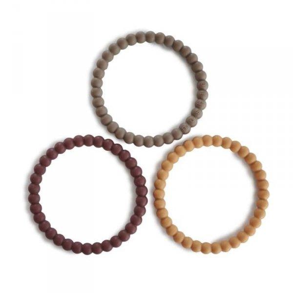 Silikonowe bransoletki gryzaki dla dziecka PERŁA Berry Marigold Khaki - Mushie - 3szt.