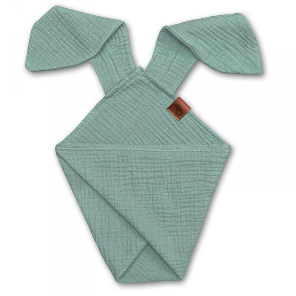 Pieluszka dla niemowląt dou dou uszami królika z organicznej BIO bawełny GOTS cozy muslin with ears 2in1 Forest Green - Hi Little One