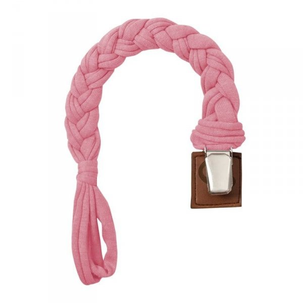 Warkoczykowa bawełniana zawieszka do smoczka w kolorze różu