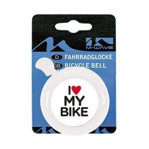 Dzwonek stalowy M-wave I love my bike  biały
