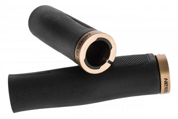 Chwyty gum. ERGO z aluminiowymi zaciskami, profilowane 130mm+92mm, czarno-graf.